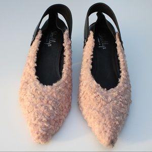 Shellys London Pink Shearling Slingback Block Heel